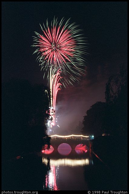 Fireworks over Clare Bridge - Clare May Ball 1998
