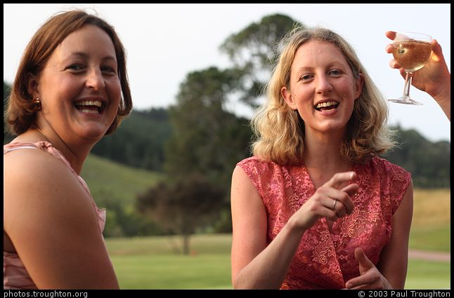 Marni Gaskell and Vicky Pope sharing bubbles and gossip - Clare and David's Wedding