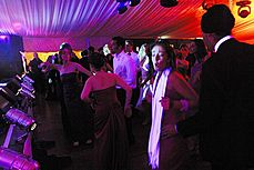 The crowd in Walnut Tree Court dancing to Terri Walker - Terri Walker at Queens' May Ball 2003
