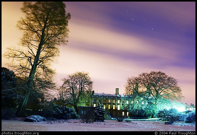 Clouds and stars over Clare - Clare College - Cambridge in the snow, January 2004